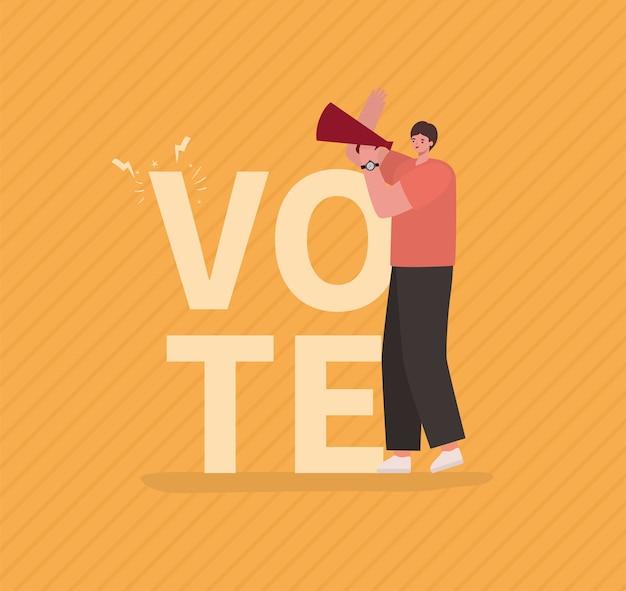 Kreskówka mężczyzna z projektem megafonu, dzień wyborów głosowania