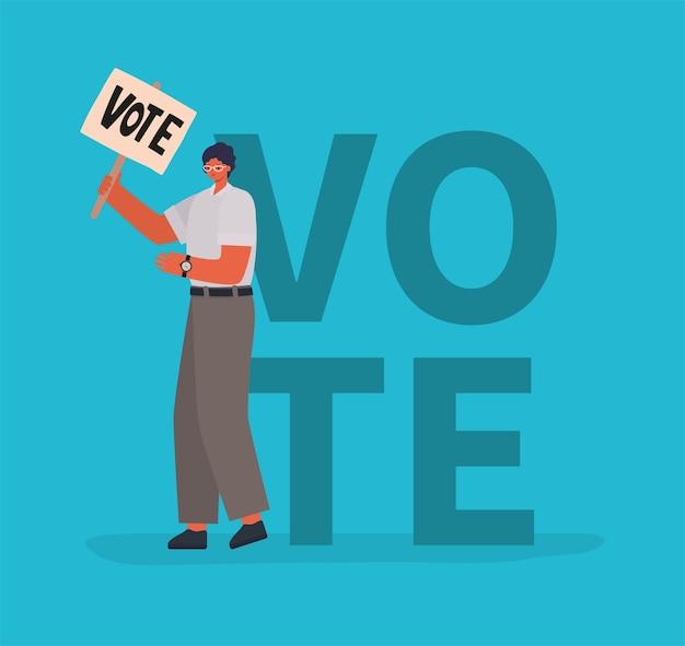Kreskówka mężczyzna z tabliczką do głosowania na niebieskim tle projektu, dzień wyborów głosowania