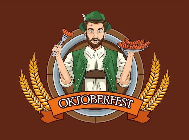 Kreskówka mężczyzna z tradycyjnym suknem i kiełbasami na projekt beczki piwa, festiwal oktoberfest niemcy i temat uroczystości