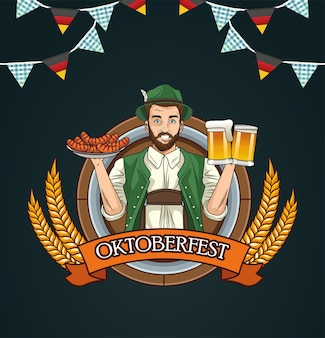 Kreskówka mężczyzna z tradycyjnymi szklankami do piwa i projekt kiełbasy, festiwal oktoberfest niemcy i temat uroczystości