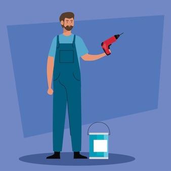 Kreskówka mężczyzna z wiertarką budowlaną i projektem wiadra z farbą przebudowy pracy i naprawy