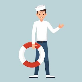 Kreskówka mężczyzna żeglarz trzyma preserver życia