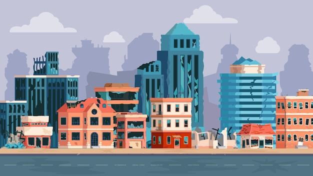 Kreskówka miasto ze zrujnowanymi budynkami po trzęsieniu ziemi, katastrofie lub wojnie. opuszczona uszkodzona ulica i zepsuta droga. apokaliptyczna koncepcja wektora