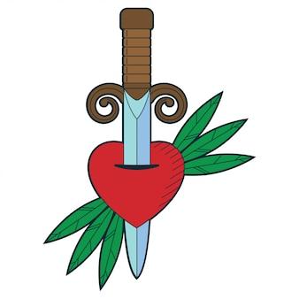 Kreskówka miecz i serce tradycyjne