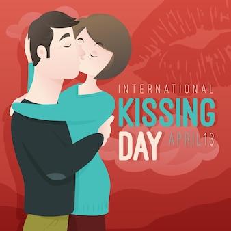 Kreskówka międzynarodowy dzień całowania ilustracja