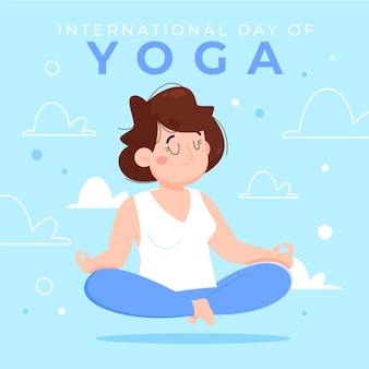 Kreskówka międzynarodowy dzień jogi ilustracja
