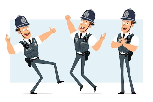 Kreskówka mieszkanie zabawny silny policjant w kamizelce kuloodpornej z zestawem radiowym. chłopiec pozuje, odpoczywa i pokazuje kciuk do góry znak.