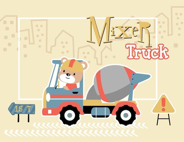 Kreskówka mix ciężarówki z zabawnym kierowcy