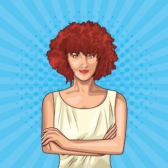 Kreskówka młoda kobieta pop-artu