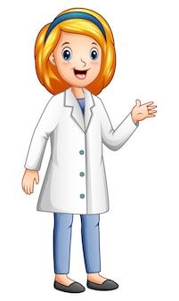 Kreskówka młoda lekarka na bielu