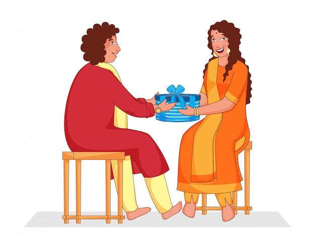 Kreskówka młody chłopak dostał pudełko dla swojej siostry siedzącej na stołkach.