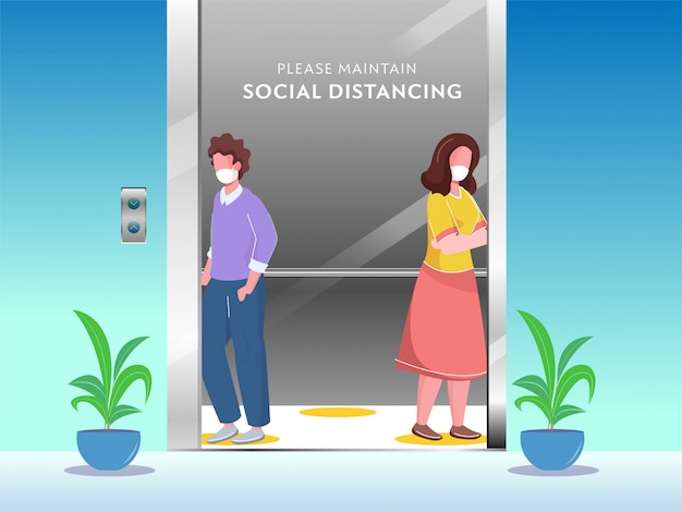 Kreskówka młody chłopak i dziewczyna w masce ochronnej z zachowaniem społecznego dystansu w windzie, aby zapobiec koronawirusowi.
