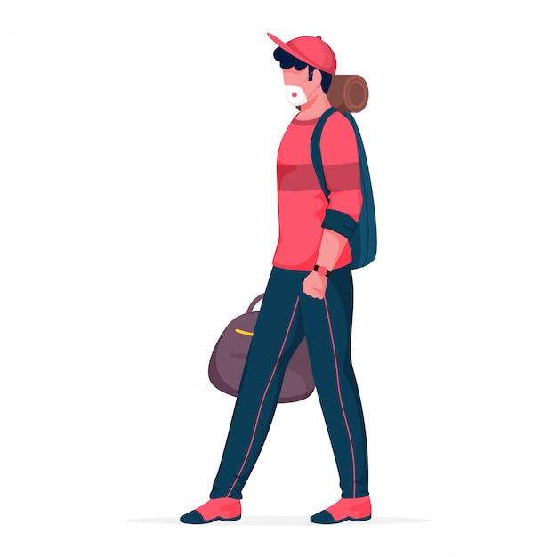 Kreskówka młody chłopiec nosić maskę medyczną z torbami do przechowywania w pozie do chodzenia.