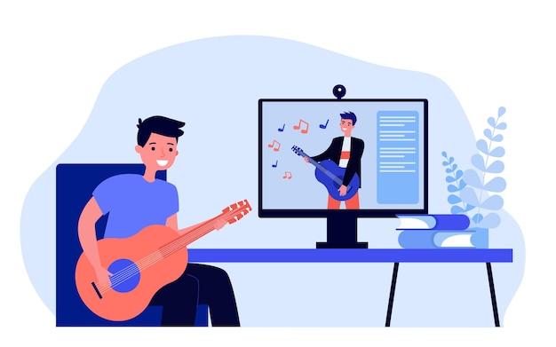 Kreskówka młody człowiek nauka gry na gitarze online płaska ilustracja wektorowa młody człowiek ogląda muzykę