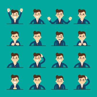 Kreskówka młody człowiek wyraża różne emocje