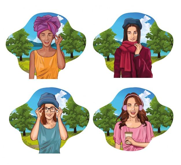 Kreskówka młodych kobiet pop-artu