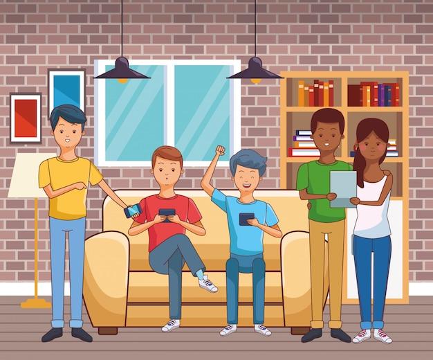 Kreskówka młodych ludzi na co dzień