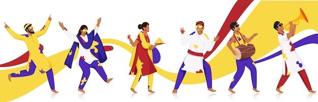 Kreskówka młodych mężczyzn i kobiet grających w holi