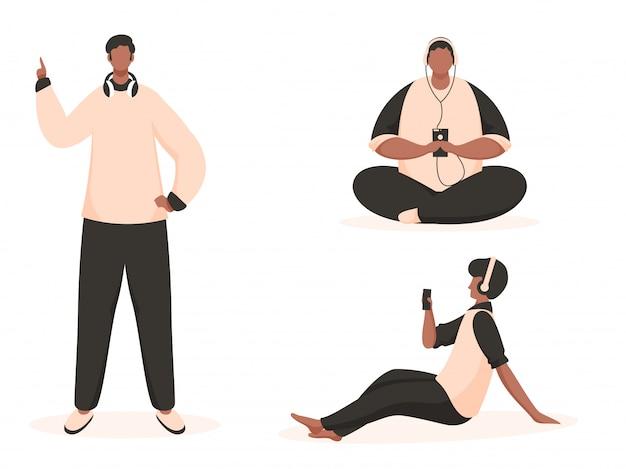 Kreskówka młodych mężczyzn słuchania muzyki na białym tle