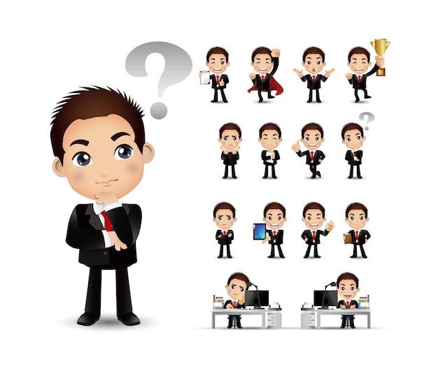 Kreskówka młodzi ludzie zestaw osoby biznesu