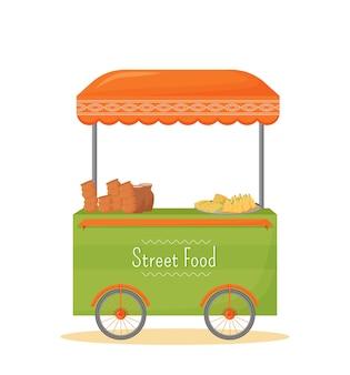 Kreskówka mobilny kiosk z jedzeniem ulicznym. indyjska tradycyjna kuchnia handlowa stragan płaski kolor obiektu. handel uliczny, namiot fast food na kółkach na białym tle