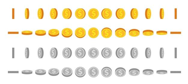 Kreskówka monety animowane sprite'y. złote i srebrne monety obracają się i obracają. okrągły dolar za animowaną grę. ikona pieniędzy w zestawie kąt widzenia wektor. ilustracja srebrna i złota moneta, odwróć i obróć