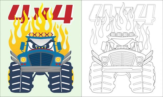 Kreskówka monster truck z płomieniem