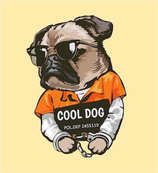 Kreskówka mops pies w stroju więźnia z szyldową ilustracją