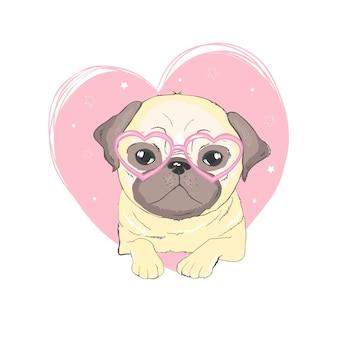 Kreskówka mops pies