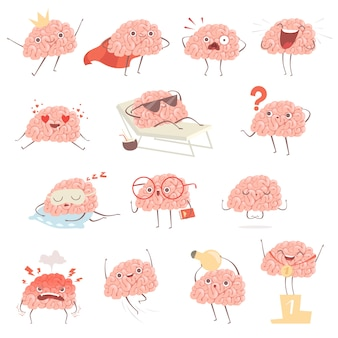 Kreskówka mózg. szczęśliwa maskotka kreskówka w akcji stanowi spacery spanie, robienie ćwiczeń