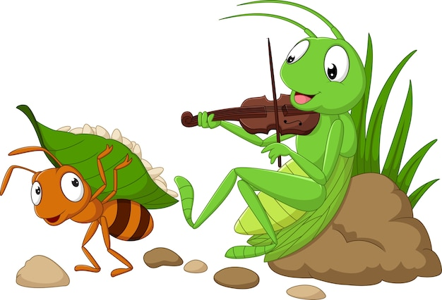 Kreskówka mrówka i konik polny