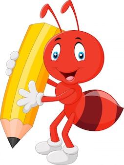 Kreskówka mrówka zabawny trzymając ołówek