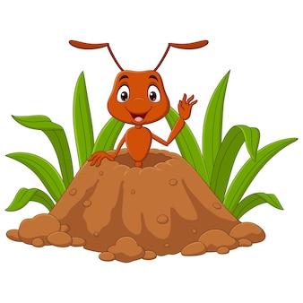 Kreskówka mrówki na wzgórzu mrówek