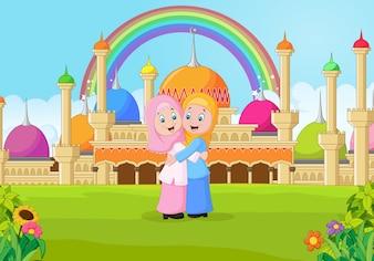 Kreskówka muzułmańska dziewczyna przytulanie przed meczet