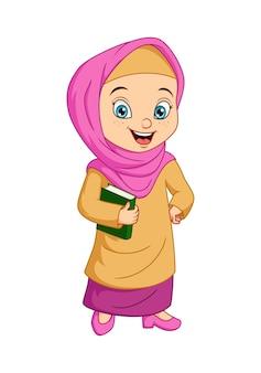 Kreskówka muzułmańska dziewczyna trzyma koran książkę