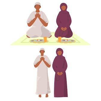 Kreskówka muzułmańska para modlitwa w pozie siedzącej i stojącej.