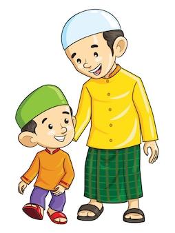 Kreskówka muzułmańskiego chłopca i jego ojca