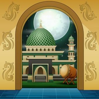 Kreskówka muzułmańskiego meczetu złota wejście