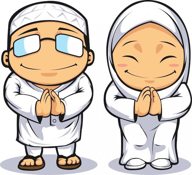 Kreskówka muzułmańskiego mężczyzny i kobiety