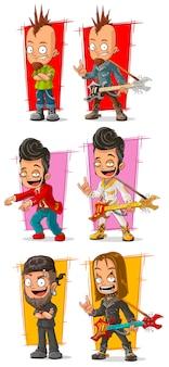 Kreskówka muzyków rockowych z zestawem znaków na gitarze