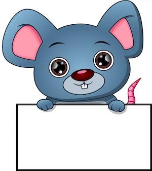 Kreskówka mysz ładny i pusty znak