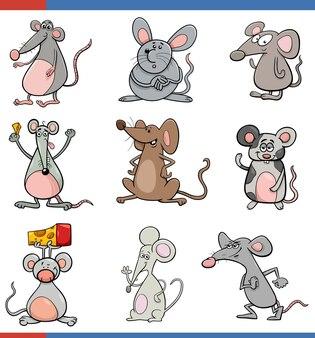 Kreskówka myszy zestaw zabawnych znaków zwierząt