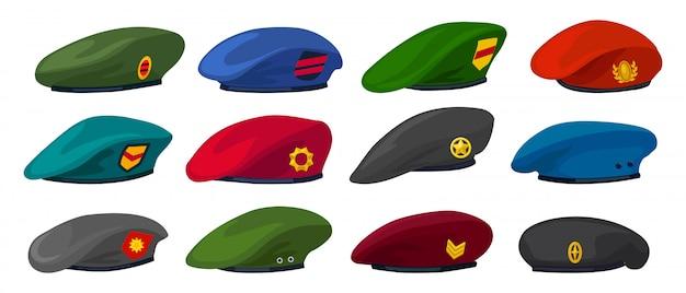 Kreskówka na białym tle beret wojskowy ustawić ikonę. ilustracja czapka wojskowa.