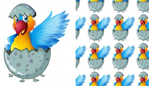 Kreskówka na białym tle papuga wzór
