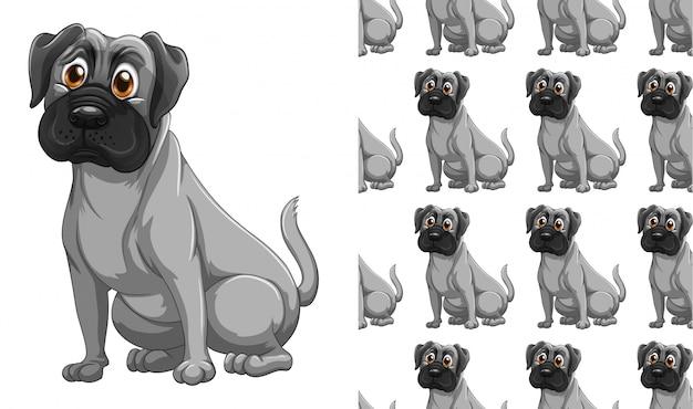 Kreskówka na białym tle pies wzór zwierzę