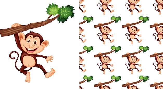 Kreskówka na białym tle wzór małpa