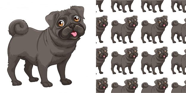 Kreskówka na białym tle wzór psa