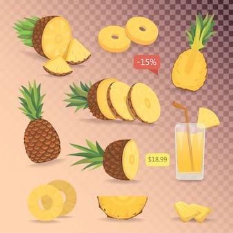 Kreskówka na białym tle zestaw ładny ananasów. kolekcja pokrojony ananas na siatce.