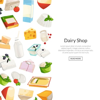 Kreskówka nabiał i ser produkty z copyspace ilustracją