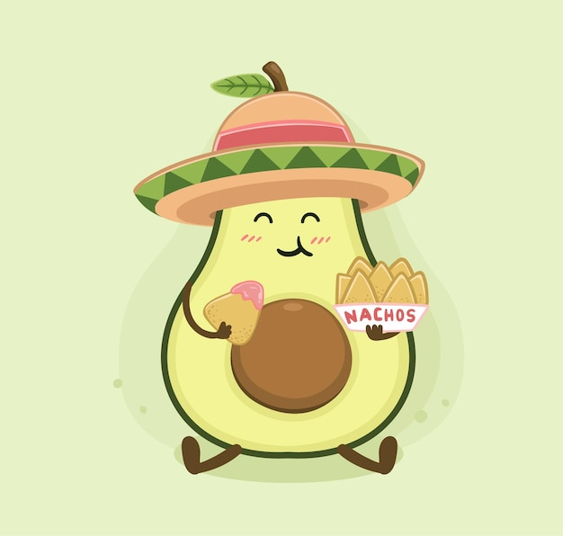 Kreskówka nachos z awokado